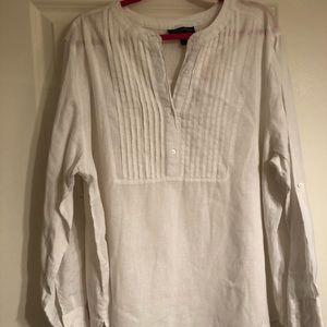 Lane Bryant white tunic in linen & cotton